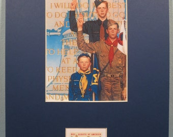 Norman Rockwell's painting of Cub Scouts, Boy Scouts and Explorers & the stamp issued to honor the 50th Anniversary of the Boy Scouts