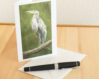 Great Blue Heron Watercolor Blank Notecard