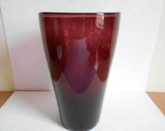 Mid Century Tall Purple Glass Vase