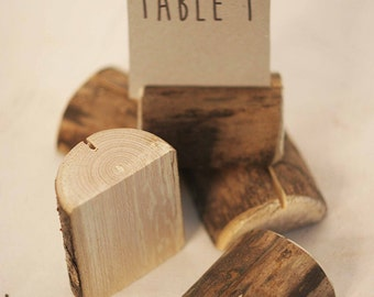 20 pieces rustic place card holders, Wedding card holders, name card holders, rustic naturally aged tree holder, wedding table number holder