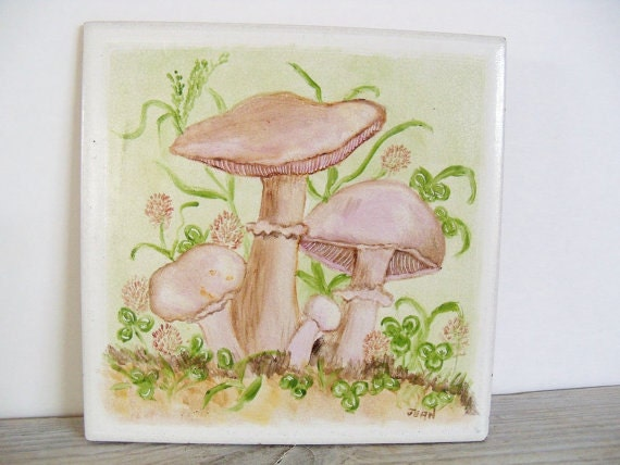 Ceramic Tile Mushrooms Semigres Italy No 82 Signed by Jean Vintage Hand Painted Trivet Tile 1970s