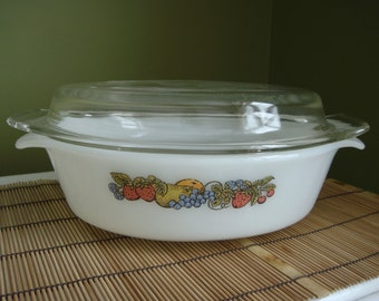 Vintage Fire King Anchor Hocking Natures Bounty Casserole 1 1/2qt #433