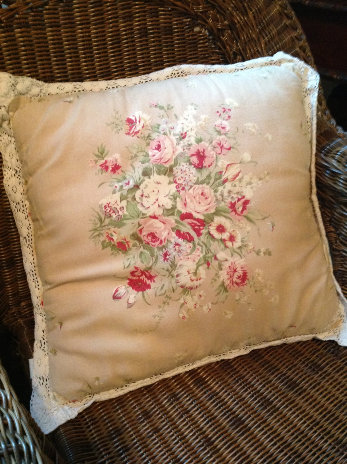Milli Home Decorative Pillows : SALE Vintage Pillow Flowers with Crochet Trim English Cottage