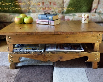 FREE UK SHIPPING Rustic Country Cottage Reclaimed Wood Coffee Table Warm Light Oak Stain Gold Tacks Under Shelf Storage Handcrafted to Order