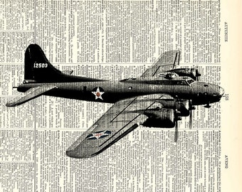 "WW2 B17 bomber. Dad's Day Gift. Upcycled vintage book page art print. Printed art on book page.  Fits 8""x10"" frame."