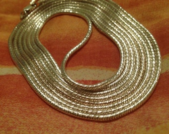 Long Silver Layered Wrap Necklace