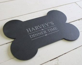 Personalised Slate Bone Shaped Food Mat