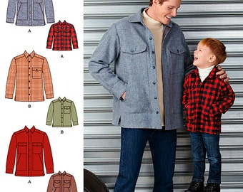 Boys' and Men's Shirt Jacket Simplicity Pattern 1328