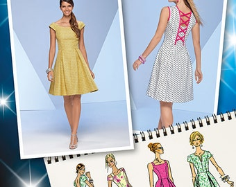 Simplicity Sewing Pattern 1418 Misses' Dress with Bodice Variations
