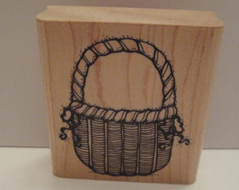 D.O.T.S. Rubber Stamp  Wicker Basket / Craft Supplies / Scrapbooking / Rubber Stamps