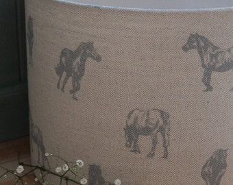 Ponies Prancing Handmade Linen/Cotton Lamp Shade