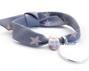 Bracelet personalized Ribbon stars and head of death