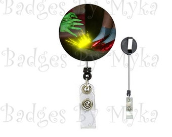 Retractable ID Badge Holder - Wicked Witch and Shoes