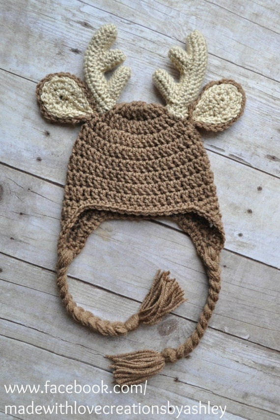 Crochet Buck Deer Hat Earflaps Child Infant by MadeWithLoveCba