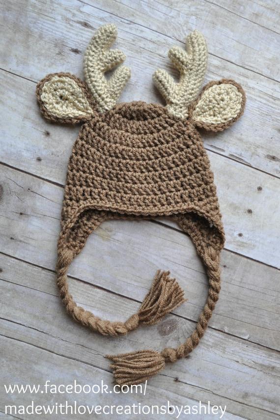 Crochet Baby Hunting Hat Pattern : Crochet Buck Deer Hat Earflaps Child Infant by MadeWithLoveCba