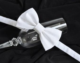 White Bow Tie. Christening Bow Tie. Wedding Bow Tie. Groom pre-tied bow tie. Men's pre-tied bow tie. White pre-tied bow tie