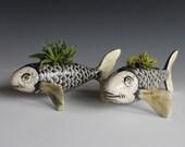 Black and white ceramic sgraffito fish small planter
