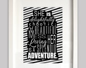 8x10 instant download file for black grey and white nursery art/quote typography for baby girl