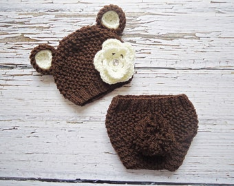 Baby Hat, Knit Baby Hat, Knit Beanie Hat with Ears  , Brown Teddy Bear Hat and diaper cover,  MADE TO ORDER