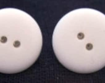 Medium White Matter Button Earrings