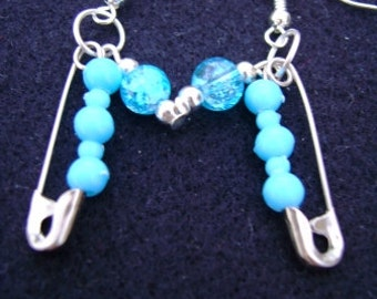 Bright Blue Safety Pin Earrings