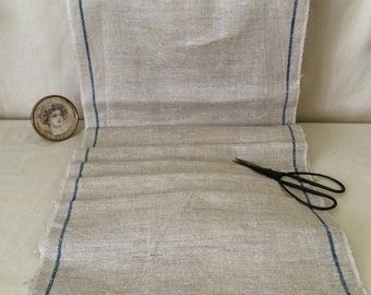 French Blue Striped Linen Toweling...2 Yards Vintage Toweling...Retro Kitchen Decor