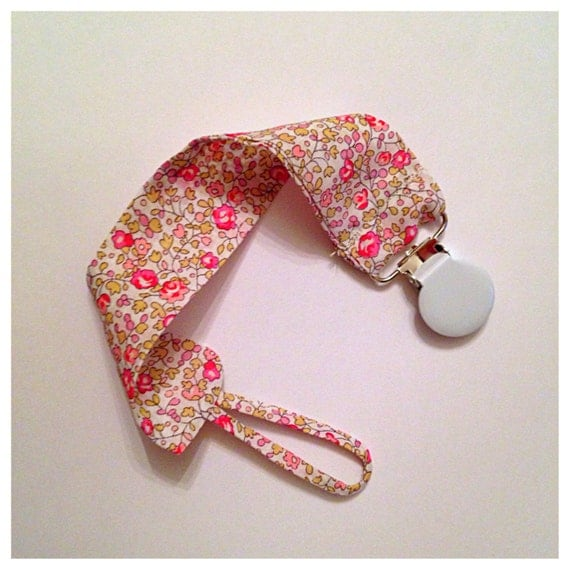 Pacifier binkie holder clip liberty fabric print choose your print!!