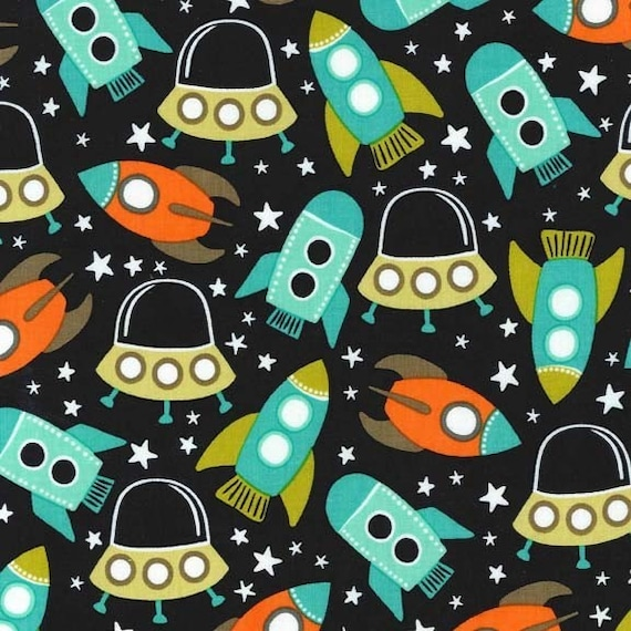Uk shop retro space station michael miller by for Space themed fleece fabric