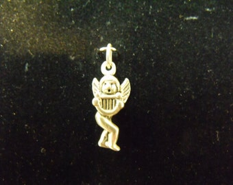 Sterling Silver Cupid with Harp 3D Charm/Pendant - .925 2.3 grams