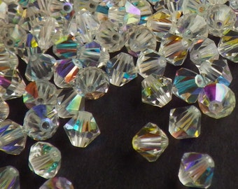 50 Vintage Swarovski Crystal Beads, 5mm Article 5301, Crystal With Aurore Boreale Finish