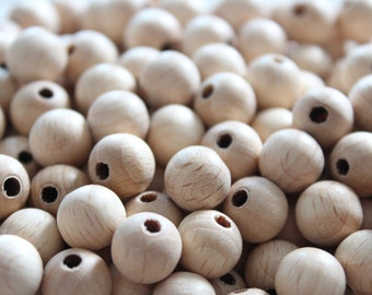 10 mm NATURAL Unfinished round wooden beads / BEECH WOOD / wooden beads for jewelry craft projects
