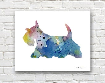 Blue Scottish Terrier Art Print - Abstract Watercolor Painting - Wall Decor