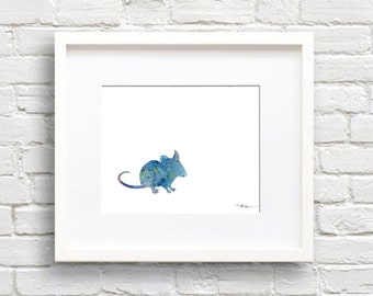 Mouse Art Print - Abstract Watercolor Painting - Wall Decor