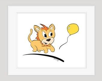 Nursery Art Baby Lion Chasing Balloon, Children's Wall Art, 8x10 Print