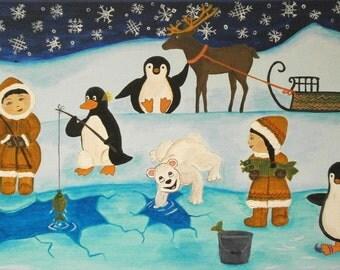 Original acrylic painting kids art children illustration for Snow bear ice fishing