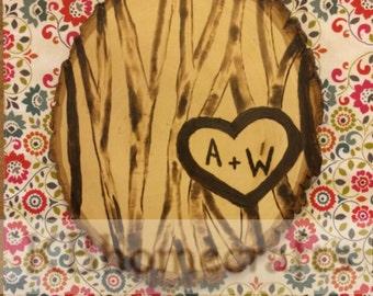 Tree Slab - Wedding Gift - Initials - Heart Tree - Trees on Wood - Woodburn Tree - Round Tree Slice - Carved Initials - Tree Scene