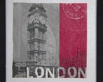 """London Canvas. Serviette decoupage on canvas. Set of 4: London, Berlin, New York and Paris. Size is 8"""" x 8"""" (20cm x 20cm)."""