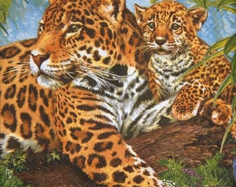 "African paper napkin serviette No 12. Leopards. Ideal for decoupage, collage, scrapbooking, mixed media.. Size: 13"" x 13""(33cm x 33cm)"