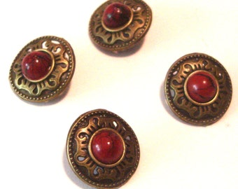 SALE Medieval Metal Button with Red Bead Set of 4 Shank Back -