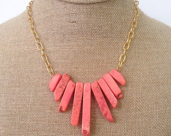 Coral + Gold Necklace