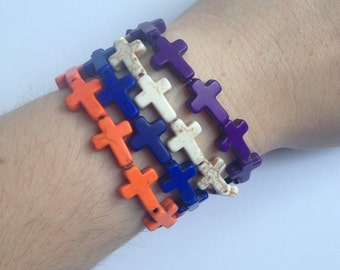 Howlite small cross stackable bracelets in assorted colors