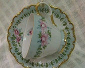 Cup & saucer Blues and Pinks; Roses Porcelain ceramic pottery Hand painted and kiln fired by B Marsh Gold trim