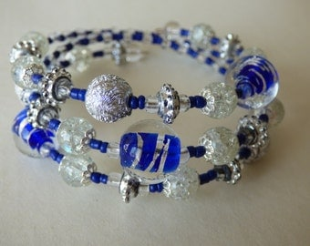 Midnight blue and silver bracelet - Made in FRANCE