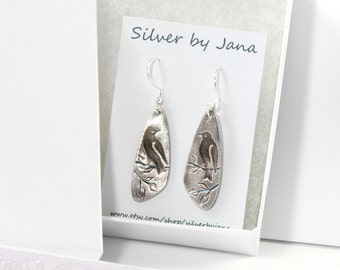 Fine Silver Dangle Bird Earrings