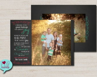 Christmas Holiday Photo Card, Chalkboard, Multiple photos, PRINTABLE DIGITAL FILE - 5x7