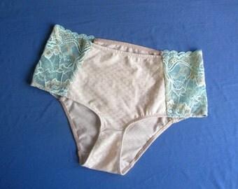 Lace and cotton panties, high waist briefs, floral lace briefs