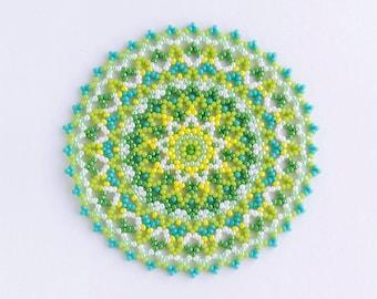 Handmade doily, yellow green beaded mat, round doily, beaded coaster, beaded doily, sprout, 236