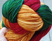 Hand dyed yarn, hand painted yarn, superwash merino, worsted wt, Christmas Red, Evergreen, and Gold, 300 gms 650 yds
