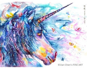 unicorn - mounted to fit in standard frame at 30cm x 40cm