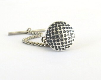 Golf Ball Tie Tack in Sterling Silver Ox Finish- Golf Gifts- Gifts For Men